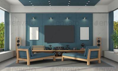 Blue home cinema of a modern villa