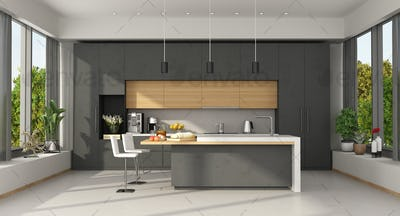 Minimalist concrete and wooden Kitchen with island