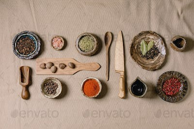 Variety of dishes and spices