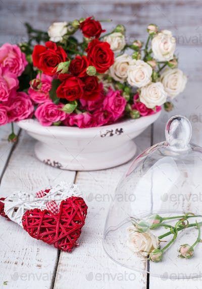 Bouquet of colorful little roses.Holiday Valentine Day. Concept of happiness.