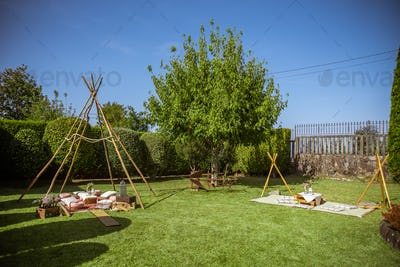 Tipi made of sticks as a wedding decoration