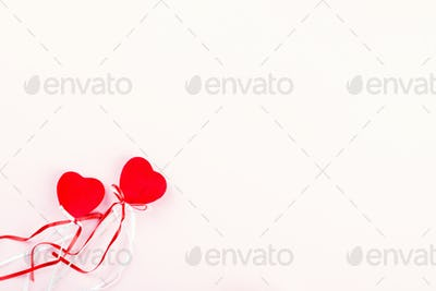 Valentine's day composition on pastel  background.