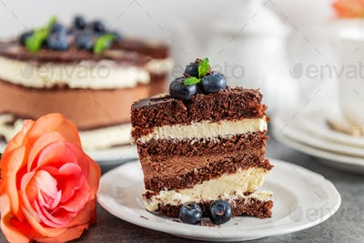 Dessert Menu Belgian Chocolate Layered Gateau