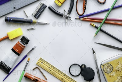 Stationery items on a white background.