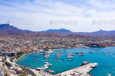 Aerial view of Mindelo Marina in Sao Vicente Island in Cape Verde