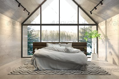 Interior bedroom of a forest house 3D rendering