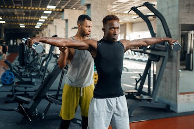 Two athletic men doing exercise with dumbbells