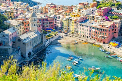 View on beautiful Vernazza town from above. Vernazza is one of the most popular old village in