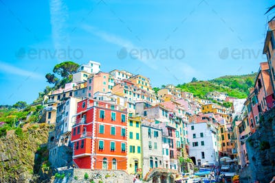 View on architecture of old italian village Riomaggiore is one of the most popular old village in