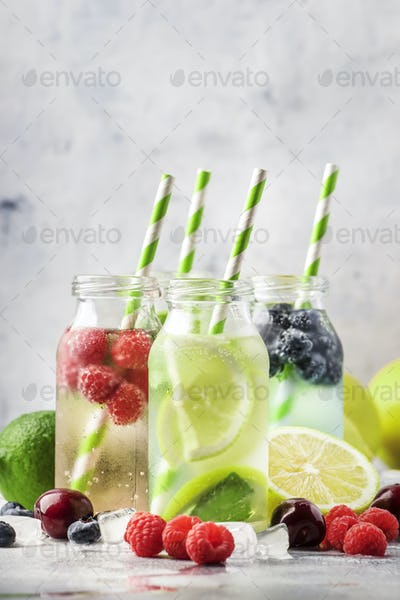 Berry and citrus soft drinks and cocktails