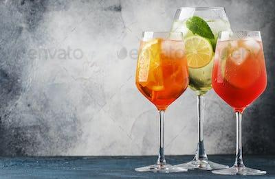 Set of summer Italian alcoholic cocktails