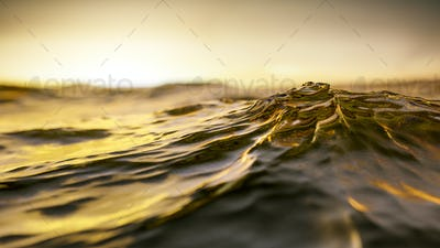 golden sunset ocean wave background