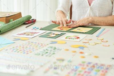 Creative Woman Making Greeting Card