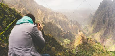 Santo Antao Island, Cape Verde. Travel hiker photographing unique surreal amazing Xo Xo valley and