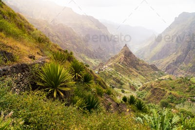 Santa Antao terrain at Cape Verde island. Mountain peaks of Xo-Xo valley with many local cultivated