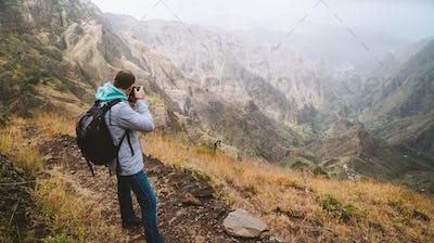 Santo Antao Island, Cape Verde. Travel hiker photographing Xo Xo valley and terrain mountain