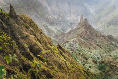 Mountain peaks in Xo-Xo valley of Santa Antao island at Cape Verde. Arid and erosion mountain peaks