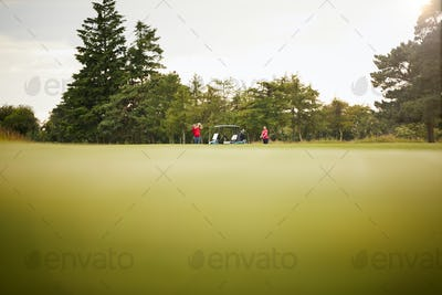 Low Angle Shot Of Couple With Buggy Playing Round Of Golf