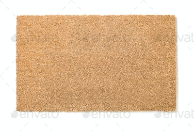Blank Welcome Mat Isolated on White With Clipping Path - Ready For Your Own Text and Background.
