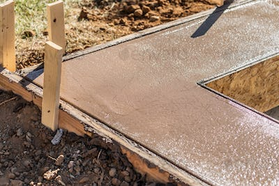 Fresh Pool Coping Cement Drying Within Wood Framing