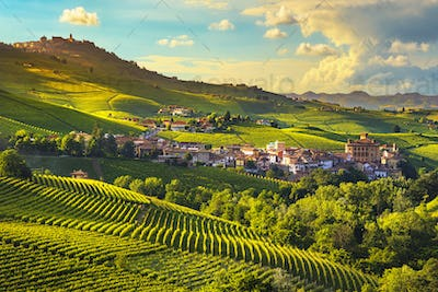 Langhe vineyards panorama, Barolo village, Piedmont, Italy Europe.