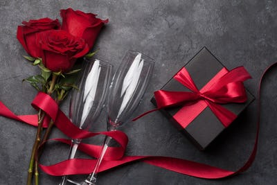 Valentines day gift box, wine and roses
