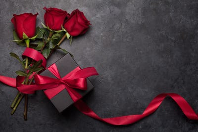 Valentines day gift box and roses bouquet