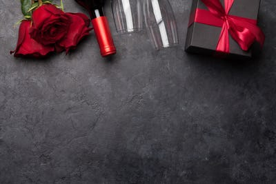 Valentines day with wine and roses bouquet