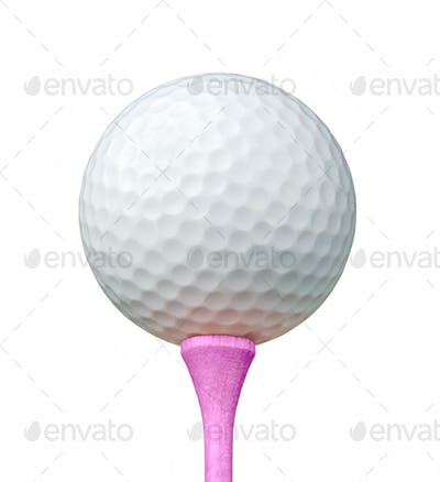 White Golf Ball on Pink Tee Isolated on a White Background