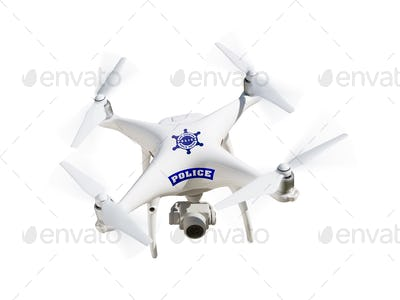 Police Unmanned Aircraft System, (UAS) Drone Isolated on a White Background
