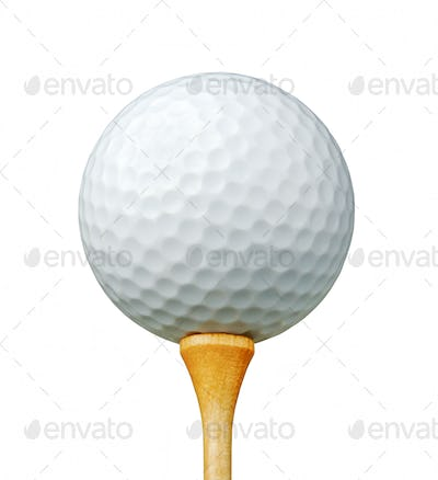 White Golf Ball on Tee Isolated on a White Background