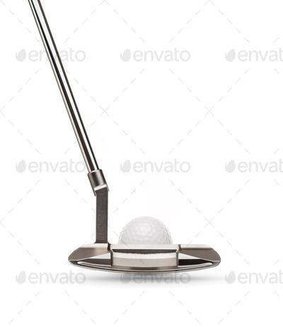 Back of Golf Club Putter With Golf Ball Isolated on a White Background