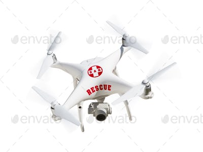 SAR - Search and Rescue Unmanned Aircraft System, (UAS) Drone Isolated On A White Background