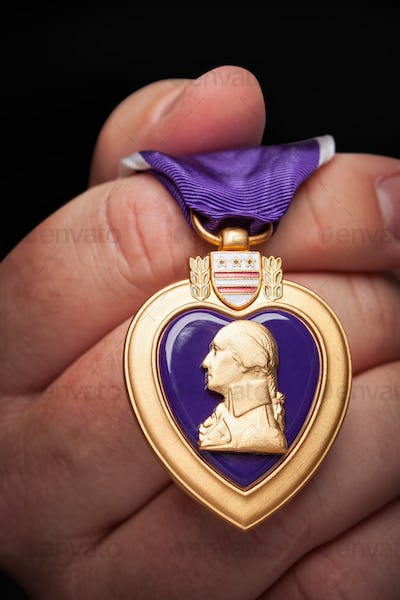 Male Hand Holding the Armed Forces Purple Heart Metal