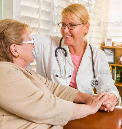Happy Smiling Doctor or Nurse Talking to Senior Woman in Chair At Home