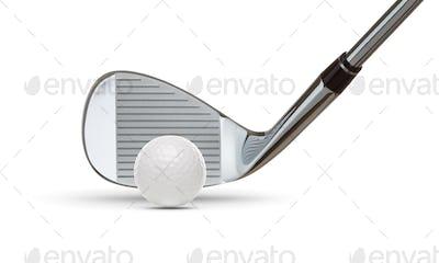 Chrome Golf Club Wedge Iron and Golf Ball on White Background