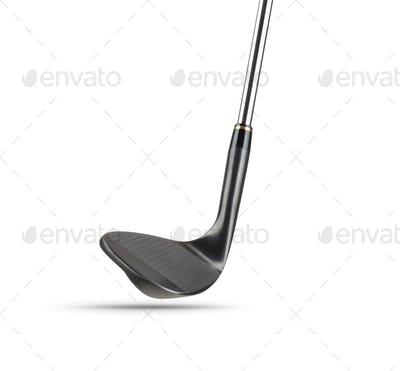 Black Golf Club Wedge Iron on White Background