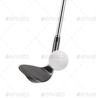 Black Golf Club Wedge Iron Hitting Golf Ball on White Background