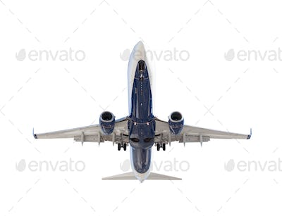 Bottom of Passenger Airplane Isolated on a White Background