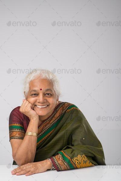 Cheerful elderly Indian woman