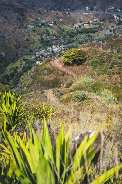 Steep trekking path going from Corda down the canyon to Coculi. Santo Antao Island, Cape Verde Cabo