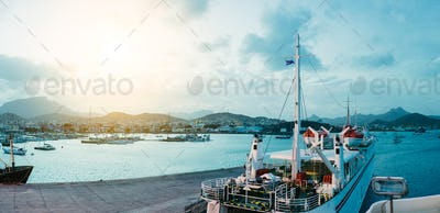 Ferry in Mindelo Harbor in the early morning light on Sao Vicente Island, Cape Verde