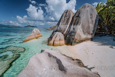 Famous Anse Source d'Argent. Exotic tropical paradise beach on island La Digue in Seychelles