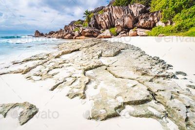 La Digue island. Surreal and bizarre rocky coastline landscape at Seychelles