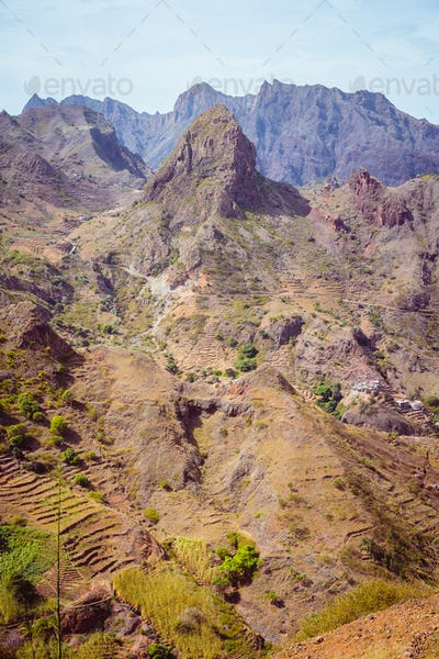Santo Antao Island, Cape Verde. Amazing huge barren mountain rock in arid climate landscape