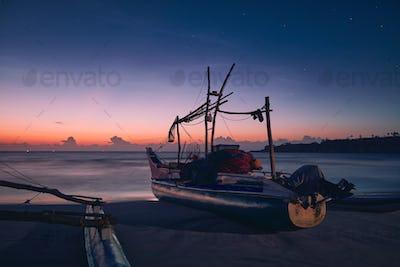 Seascape at colorful dawn