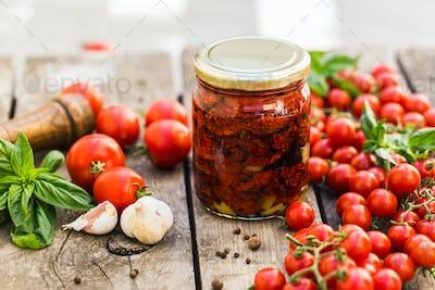 Sun dried tomatoes in glass jar