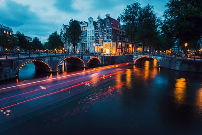 Amazing Light trails and reflections on water at the Leidsegracht and Keizersgracht canals in