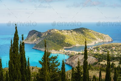 View to famous Assos village and venetian fortress, beautiful seashore scenery, Kefalonia island