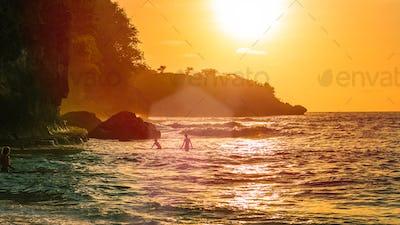Sunset on beautiful Crystal Bay, Nusa Penida, Bali, Indonesia